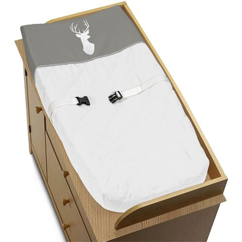 Grey and White Deer Changing Pad Cover for Woodsy Collection by Sweet Jojo Designs - Click to enlarge