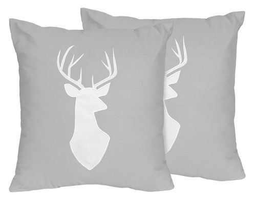 Grey and White Deer Decorative Accent Throw Pillows for Woodsy Collection by Sweet Jojo Designs - Set of 2 - Click to enlarge