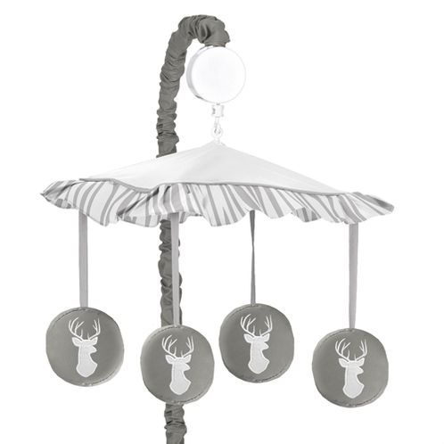 Grey and White Deer Musical Baby Crib Mobile for Woodsy Collection by Sweet Jojo Designs - Click to enlarge