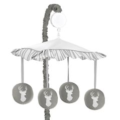 Grey and White Deer Musical Baby Crib Mobile for Woodsy Collection by Sweet Jojo Designs