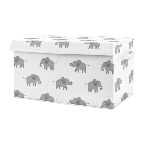Grey and White Elephant Boy or Girl Small Fabric Toy Bin Storage Box Chest For Baby Nursery or Kids Room by Sweet Jojo Designs - Gray Watercolor Safari Jungle Animal - Click to enlarge