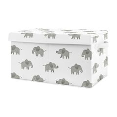 Grey and White Elephant Boy or Girl Small Fabric Toy Bin Storage Box Chest For Baby Nursery or Kids Room by Sweet Jojo Designs - Gray Watercolor Safari Jungle Animal