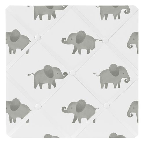 Grey and White Fabric Memory Memo Photo Bulletin Board for Mint Watercolor Elephant Safari Collection by Sweet Jojo Designs - Click to enlarge
