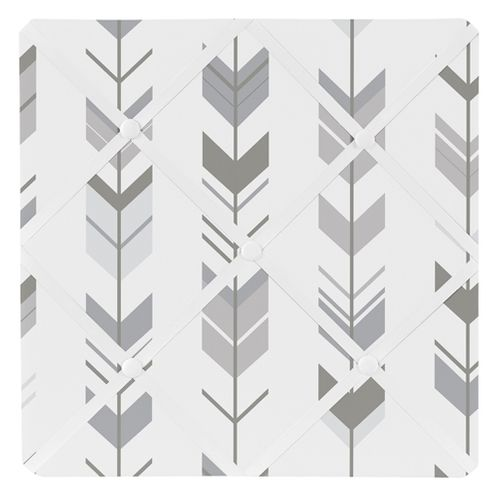 Grey and White Fabric Memory/Memo Photo Bulletin Board for Woodland Arrow Collection by Sweet Jojo Designs - Click to enlarge
