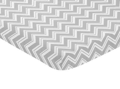 Grey and White Fitted Baby Mini Portable Crib Sheet for Chevron Zig Zag Collection by Sweet Jojo Designs - Click to enlarge