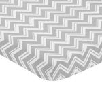 Grey and White Fitted Baby Mini Portable Crib Sheet for Chevron Zig Zag Collection by Sweet Jojo Designs