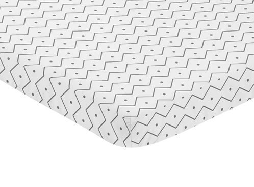 Grey and White Geometric Baby Fitted Mini Portable Crib Sheet for Mod Dino Modern Dinosaur Collection by Sweet Jojo Designs - Click to enlarge