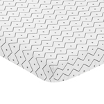 Grey and White Geometric Baby Fitted Mini Portable Crib Sheet for Mod Dino Modern Dinosaur Collection by Sweet Jojo Designs