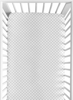 Grey and White Lattice Girl Baby or Toddler Nursery Fitted Crib Sheet for Gray Bunny Floral Collection by Sweet Jojo Designs