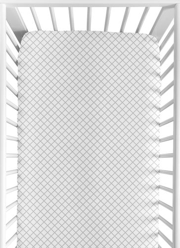 Grey and White Lattice Girl Baby or Toddler Nursery Fitted Crib Sheet for Gray Bunny Floral Collection by Sweet Jojo Designs - Click to enlarge