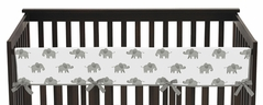 Grey and White Long Front Crib Rail Guard Baby Teething Cover Protector Wrap for Watercolor Elephant Safari Collection by Sweet Jojo Designs