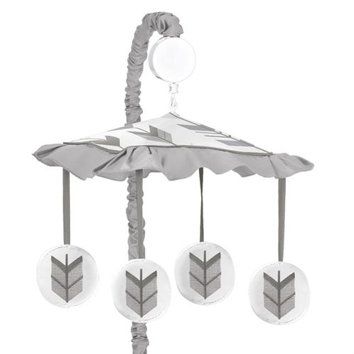 Grey and White Musical Baby Crib Mobile for Woodland Arrow Collection by Sweet Jojo Designs - Click to enlarge