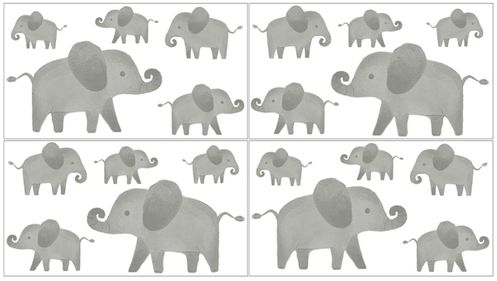 Grey and White Peel and Stick Wall Decal Stickers Art Nursery Decor for Mint Watercolor Elephant Safari Collection by Sweet Jojo Designs - Set of 4 Sheets - Click to enlarge