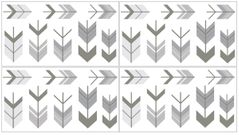 Grey and White Peel and Stick Wall Decal Stickers Art Nursery Decor for Woodland Arrow Collection by Sweet Jojo Designs - set of 4 sheets