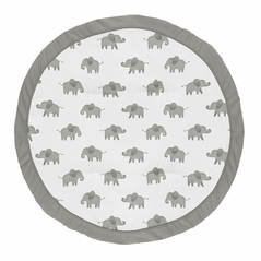 Grey and White Playmat Tummy Time Baby and Infant Play Mat for Mint Watercolor Elephant Safari Collection by Sweet Jojo Designs
