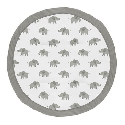 Grey and White Playmat Tummy Time Baby and Infant Play Mat for Mint Watercolor Elephant Safari Collection by Sweet Jojo Designs - Click to enlarge