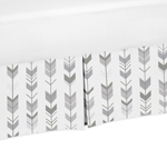 Grey and White Pleated Queen Bed Skirt Dust Ruffle for Woodland Arrow Collection by Sweet Jojo Designs