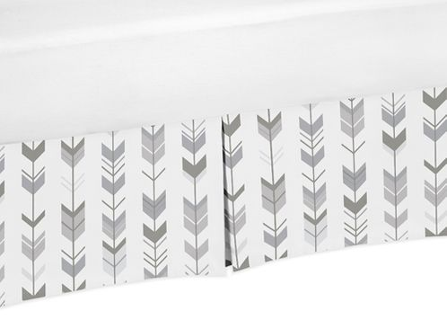 Grey and White Pleated Queen Bed Skirt Dust Ruffle for Woodland Arrow Collection by Sweet Jojo Designs - Click to enlarge