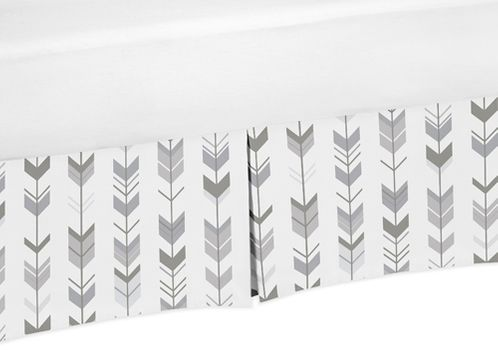 Grey and White Pleated Twin Bed Skirt Dust Ruffle for Woodland Arrow Collection by Sweet Jojo Designs - Click to enlarge