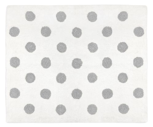 Grey and White Polka Dot Accent Floor Rug or Bath Mat for Watercolor Floral Collection by Sweet Jojo Designs - Click to enlarge