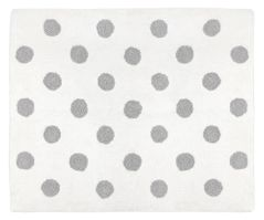 Grey and White Polka Dot Accent Floor Rug or Bath Mat for Lavender Purple and Grey Watercolor Floral Collection by Sweet Jojo Designs