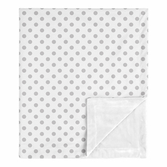 Grey and White Polka Dot Baby Girl Blanket Receiving Security Swaddle for Newborn or Toddler Nursery Car Seat Stroller Soft Minky by Sweet Jojo Designs - for the Blush Pink and Gray Shabby Chic Boho Watercolor Floral Rose Flower Collection