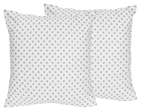 Grey and White Polka Dot Decorative Accent Throw Pillows for Watercolor Floral Collection by Sweet Jojo Designs - Set of 2 - Click to enlarge