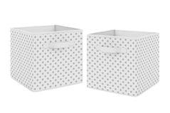 Grey and White Polka Dot Foldable Fabric Storage Cube Bins Boxes Organizer Toys Kids Baby Childrens by Sweet Jojo Designs - Set of 2 - for the Watercolor Floral and Sailor Collections