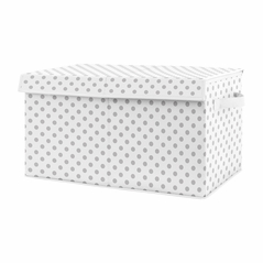 Grey and White Polka Dot Girl Small Fabric Toy Bin Storage Box Chest For Baby Nursery or Kids Room by Sweet Jojo Designs - for the Blush Pink and Gray Shabby Chic Boho Watercolor Floral Rose Flower Collection