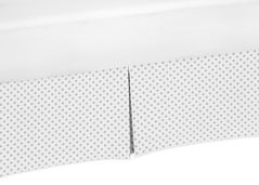 Grey and White Polka Dot Pleated Queen Bed Skirt Dust Ruffle for Watercolor Floral Collection by Sweet Jojo Designs