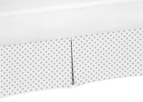 Grey and White Polka Dot Pleated Toddler Bed Skirt Dust Ruffle for Watercolor Floral Collection by Sweet Jojo Designs - Click to enlarge