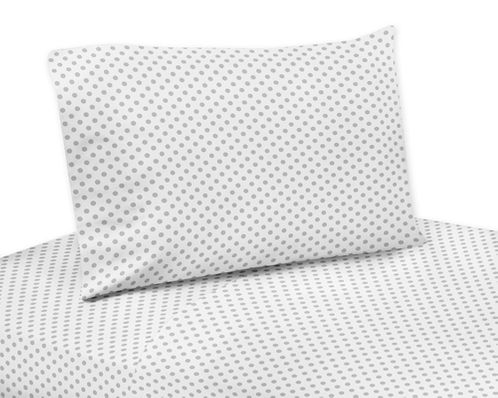 Grey and White Polka Dot Queen Sheet Set for Watercolor Floral Collection by Sweet Jojo Designs - 4 piece set - Click to enlarge