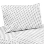 Grey and White Polka Dot Queen Sheet Set for Watercolor Floral Collection by Sweet Jojo Designs - 4 piece set