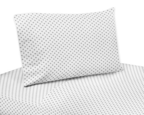 Grey and White Polka Dot Twin Sheet Set for Watercolor Floral Collection by Sweet Jojo Designs - 3 piece set - Click to enlarge