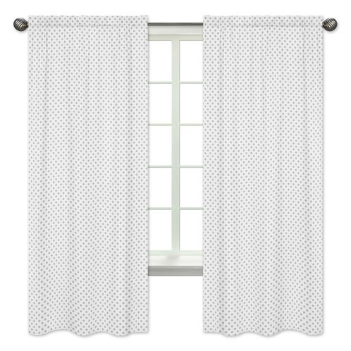 Grey and White Polka Dot Window Treatment Panels Curtains for Watercolor Floral Collection by Sweet Jojo Designs - Set of 2 - Click to enlarge
