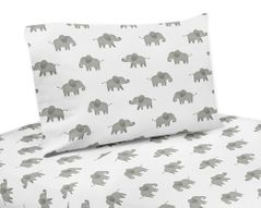 Grey and White Queen Sheet Set for Blush Pink Watercolor Elephant Safari Collection by Sweet Jojo Designs - 4 piece set
