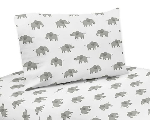 Grey and White Queen Sheet Set for Mint Watercolor Elephant Safari Collection by Sweet Jojo Designs - 4 piece set - Click to enlarge