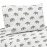 Grey and White Queen Sheet Set for Mint Watercolor Elephant Safari Collection by Sweet Jojo Designs - 4 piece set