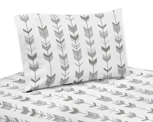 Grey and White Queen Sheet Set for Woodland Arrow Collection by Sweet Jojo Designs - 4 piece set - Click to enlarge