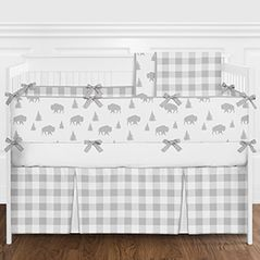Grey and White Rustic Country Buffalo Plaid Check Baby Boy or Girl Gender Neutral Crib Bedding Set with Bumper by Sweet Jojo Designs - 9 pieces