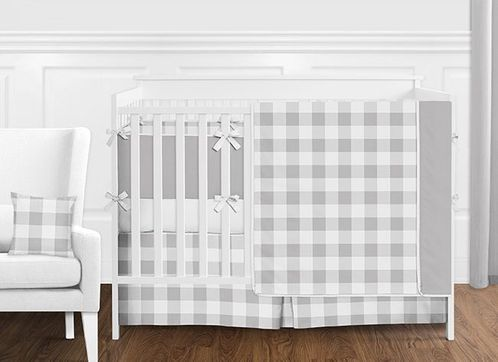 Grey and White Rustic Country Buffalo Plaid Check Baby Boy or Girl Gender Neutral Crib Bedding Set with Bumper by Sweet Jojo Designs - 9 pieces - Click to enlarge