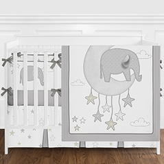 Grey and White Safari Elephant Baby Boy or Girl Nursery Crib Bedding Set with Bumper by Sweet Jojo Designs - 9 pieces - Gender Neutral Gray Gold Star Moon Cloud
