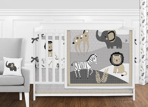 Grey And White Safari Jungle Animal Baby Or Boy Nursery Crib Bedding Set With Per By Sweet Jojo Designs 9 Pieces Gray Beige Black