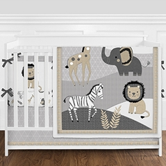 Grey and White Safari Jungle Animal Baby Girl or Boy Nursery Crib Bedding Set with Bumper by Sweet Jojo Designs - 9 pieces - Gray, Beige and Black Elephant, Giraffe, Lion, Zebra