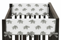 Grey and White Side Crib Rail Guards Baby Teething Cover Protector Wrap for Watercolor Elephant Safari Collection by Sweet Jojo Designs - Set of 2