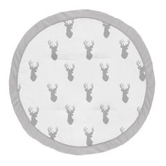 Grey and White Stag Playmat Tummy Time Baby and Infant Play Mat for Woodland Deer Collection by Sweet Jojo Designs
