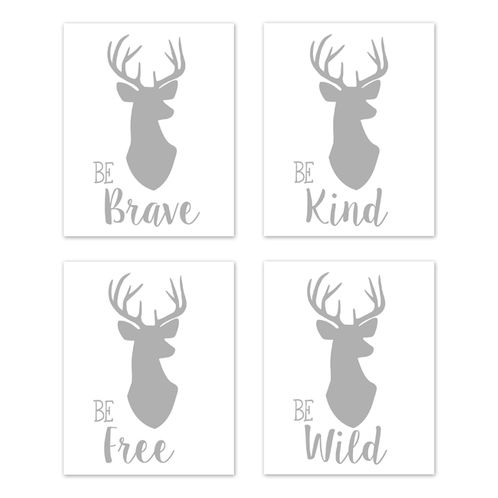 Grey and White Stag Wall Art Prints Room Decor for Baby, Nursery, and Kids for Woodland Deer Collection by Sweet Jojo Designs - Set of 4 - Be Brave, Be Kind, Be Wild, Be Free - Click to enlarge