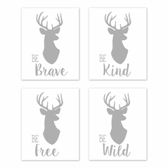 Grey and White Stag Wall Art Prints Room Decor for Baby, Nursery, and Kids for Woodland Deer Collection by Sweet Jojo Designs - Set of 4 - Be Brave, Be Kind, Be Wild, Be Free