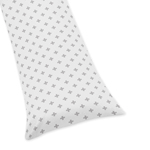 Grey and White Swiss Cross Body Pillow Case Cover for Woodsy Collection by Sweet Jojo Designs (Pillow Not Included)