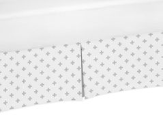Grey and White Swiss Cross Boy or Girl Unisex Pleated Crib Bed Skirt Dust Ruffle for Woodsy Collection by Sweet Jojo Designs